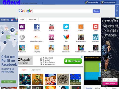 Página Inicial do QQovd.com exibida automaticamente após abrir o navegador