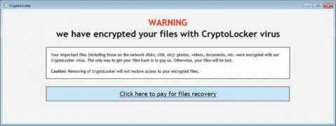 CryptoLocker ecrã de alerta