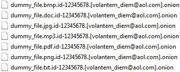 A aparência dos arquivos afetados pela ransomware Onion
