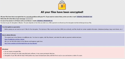 Aviso do ransomware Onion com os destaques iniciais da recuperação