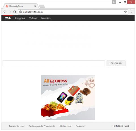Página inicial OurLuckySites visitada devido à adulteração de configurações padrão por malware