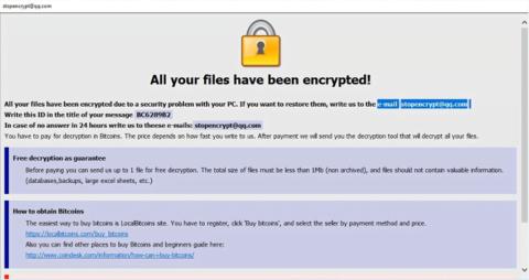 O vírus de ficheiros .adobe exibe a nota de resgate HTA