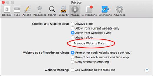 Mac Safari Manage Website Data
