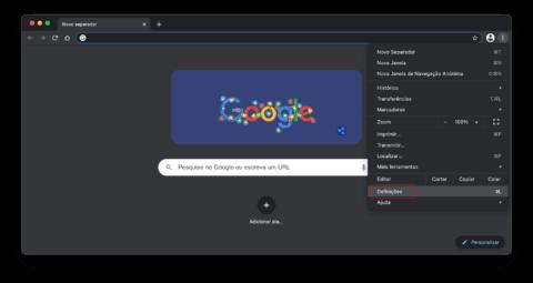 Ir a Definições no Chrome