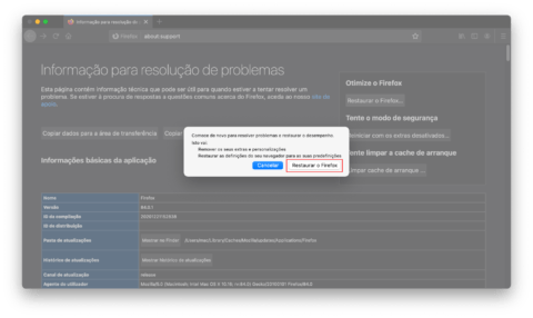Restaurar o Mozilla Firefox no Mac